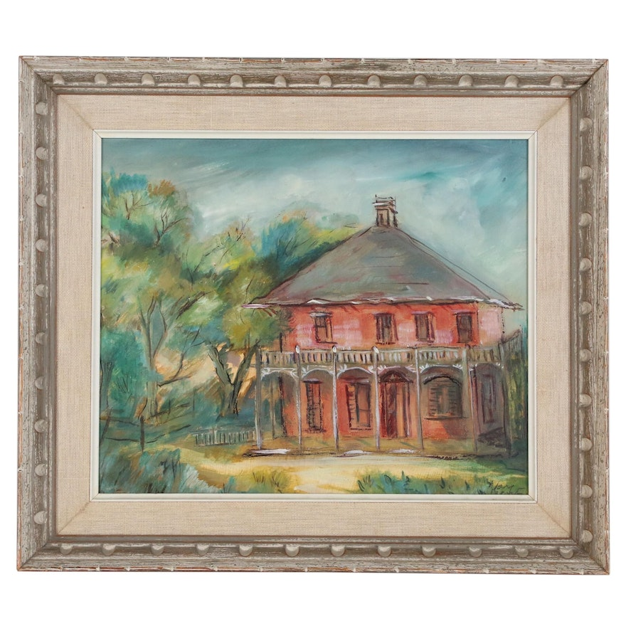 Kay West Acrylic Painting of Red House, Late 20th Century