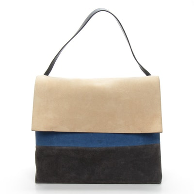 Celine Suede and Leather Color Block Shoulder Bag