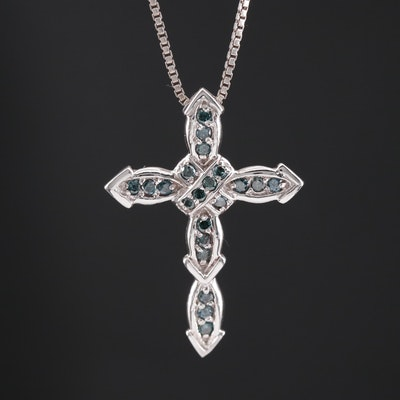 14K Blue Diamond Cross Pendant on Sterling Box Link Chain