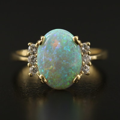 18K Opal Ring with Diamond Accents