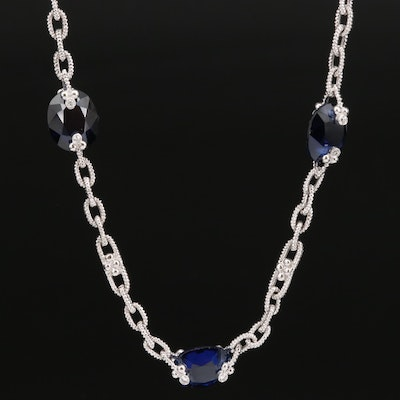 Judith Ripka 18K Sapphire and Diamond Station Necklace