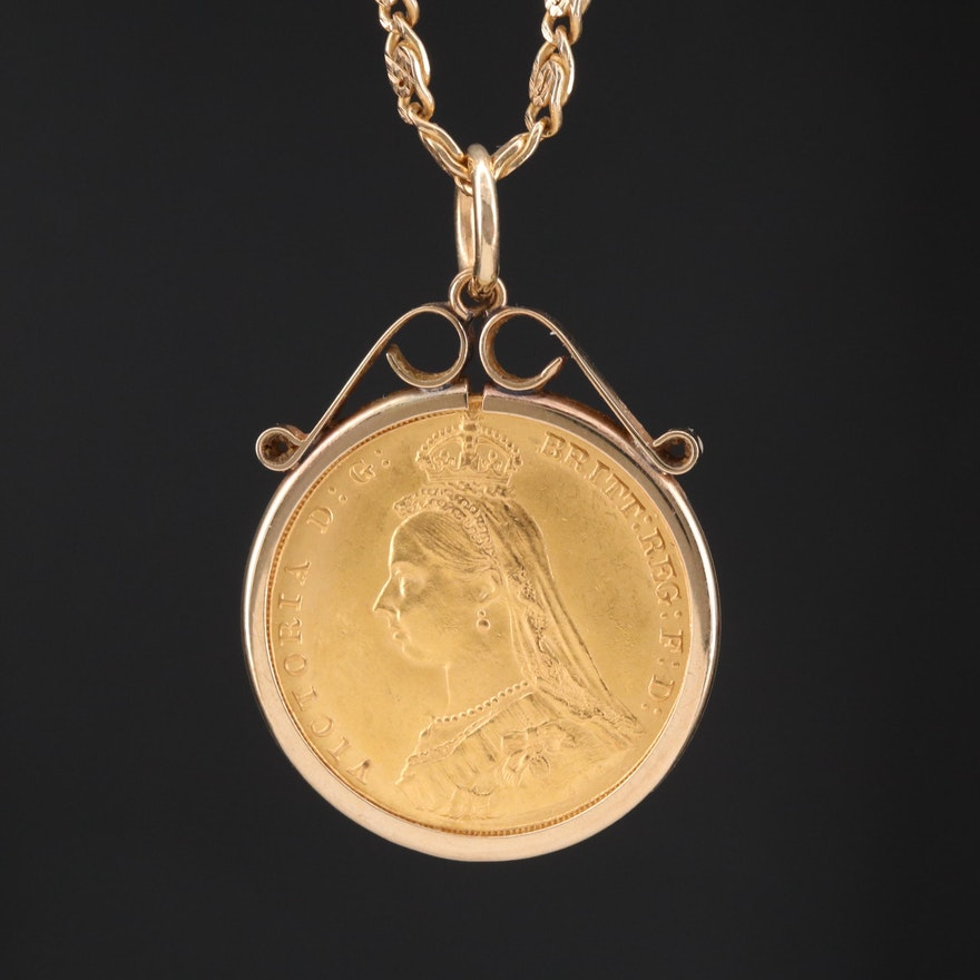 10K and 14K Necklace with 1887 Great Britain 1-Sovereign Gold Coin