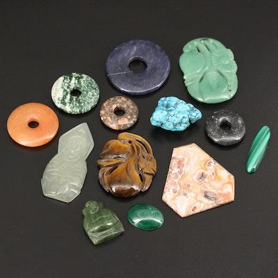 Loose Gemstones Including Jasper, Tiger's Eye and Rhodonite