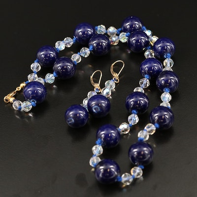 Knotted Porcelain and Glass Bead Necklace and Drop Earrings with 14K Closures