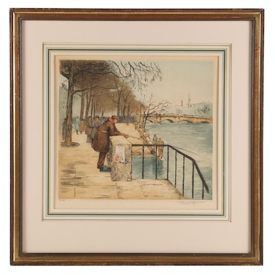 Hand-Colored Etching of European City Scene with Fisherman