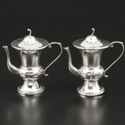 Sterling Silver Coffee Pot Shaped Shakers, Mid to Late 20th Century