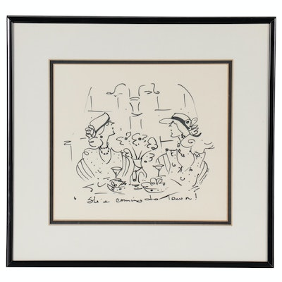"""Cramen Ink Drawing """"She's Coming To Town!"""", 1990"""