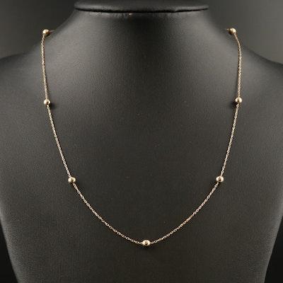 14K Bead Station Necklace