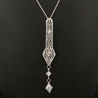 Art Deco 14K Drop Pendant Necklace with Platinum and Palladium Accents