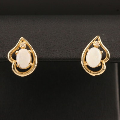 14K Opal and Diamond Stud Earrings