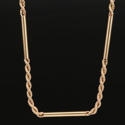 14K French Rope Necklace with Tubular Stations