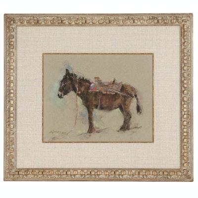 Adam Kelley Pastel Drawing of Domestic Donkey, 1984