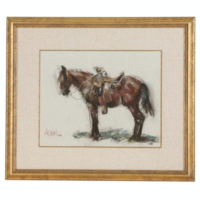 Adam Kelley Pastel Drawing of Sorrel Horse, 1984