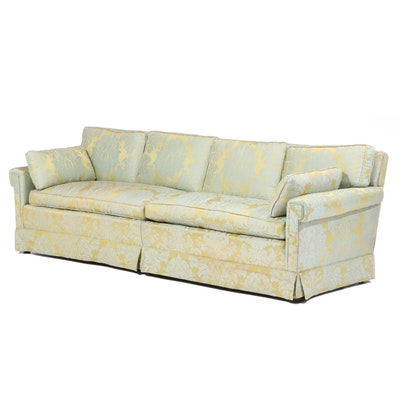 Damask-Upholstered Sofa, Mid to Late 20th Century