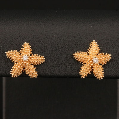 14K Diamond Starfish Stud Earring