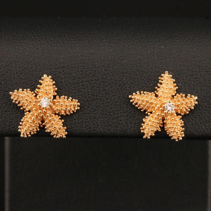 14K Diamond Starfish Stud Earring