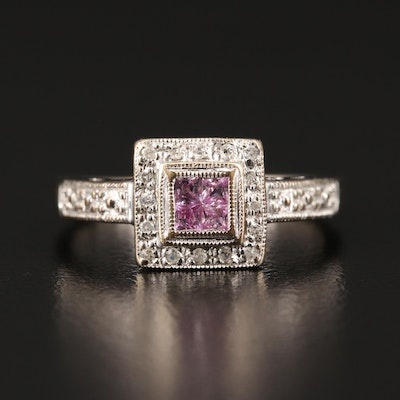 14K Pink Sapphire and Diamond Ring Featuring Milgrain Detailing