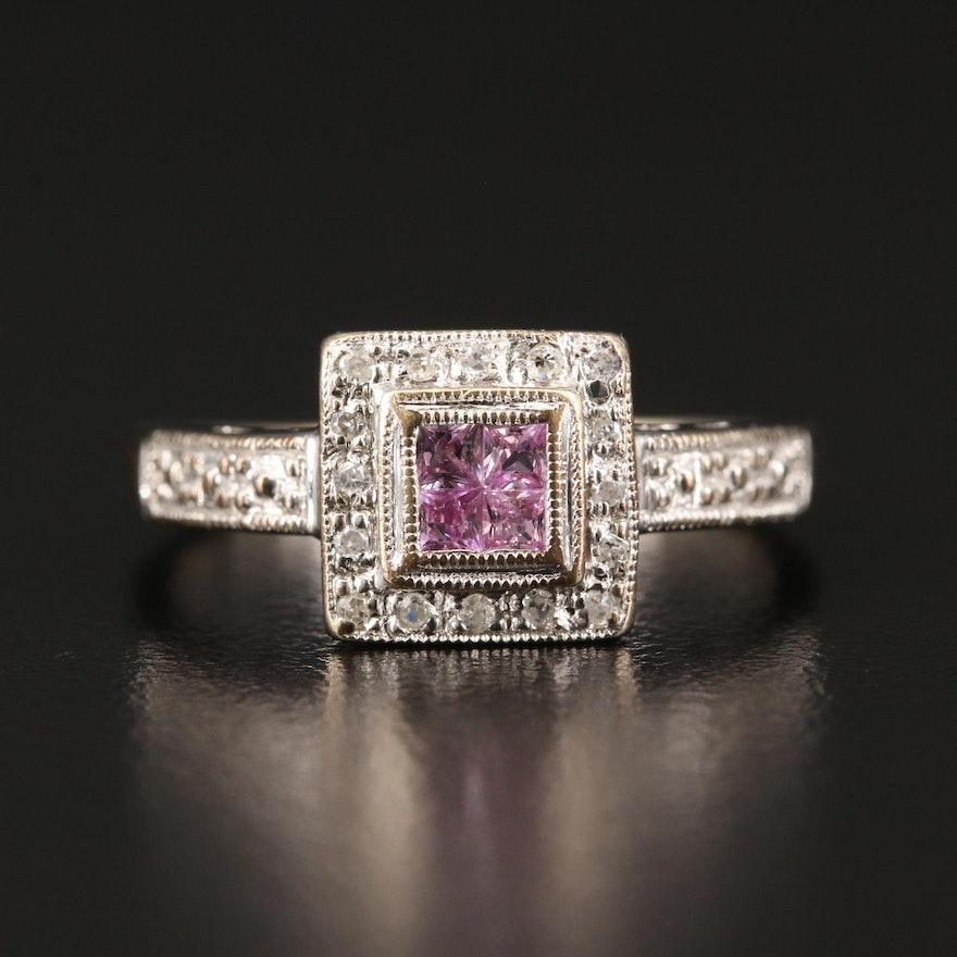14K Pink Sapphire and Diamond Ring Featuring Milgrain Detailing
