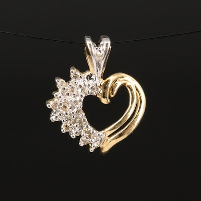 10K Diamond Open Heart Pendant