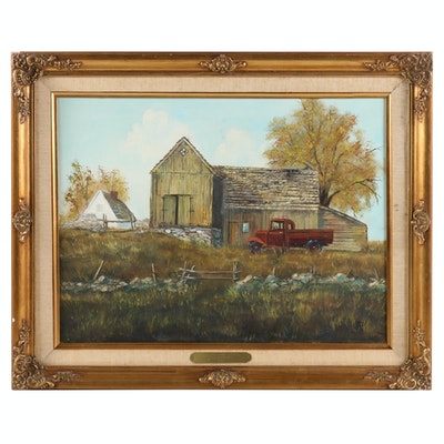 Patty Newcomer Oil Painting of Barn and Red Pickup Truck, 1979