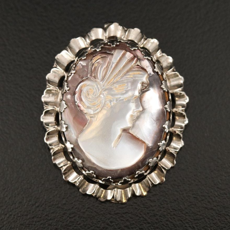 Vintage Dixelle Sterling Carved Black Mother of Pearl Converter Brooch