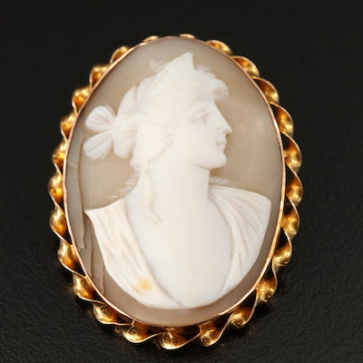 1930s 10K Shell Cameo Brooch