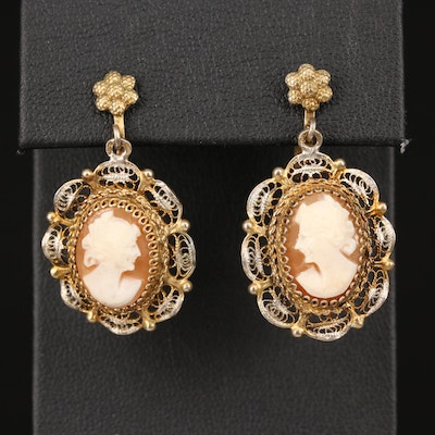 Vintage 800 Silver Shell Cameo Earrings with Filigree Design