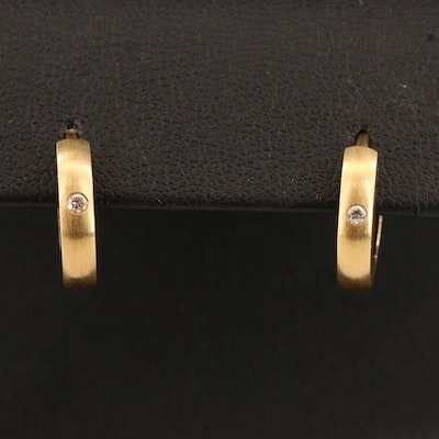 14K Huggie Hoop Earrings with Brushed Satin Finish and Diamond Accents