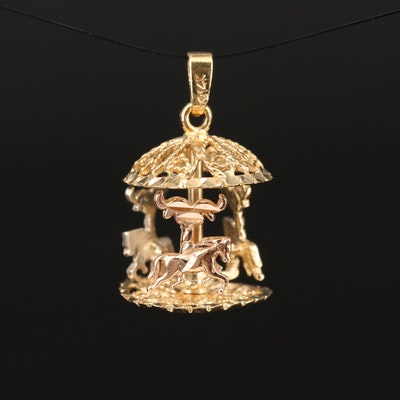 14K Tri-Color Gold Carousel Pendant