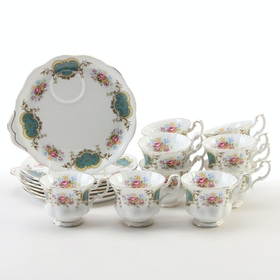 "Royal Albert ""Berkeley"" Bone China Teacups and Snack Plates, Late 20th Century"