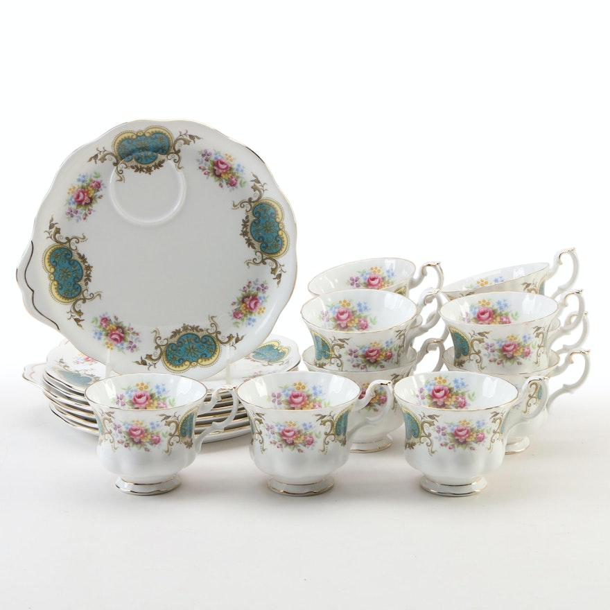 "Royal Albert ""Berkeley"" Bone China Teacups and Snack Plates, Late 20th Century"
