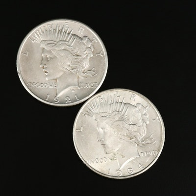 Key Date 1921 High Relief and 1934-D Peace Silver Dollars