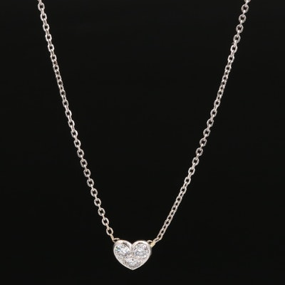 18K Diamond Three Stone Heart Necklace
