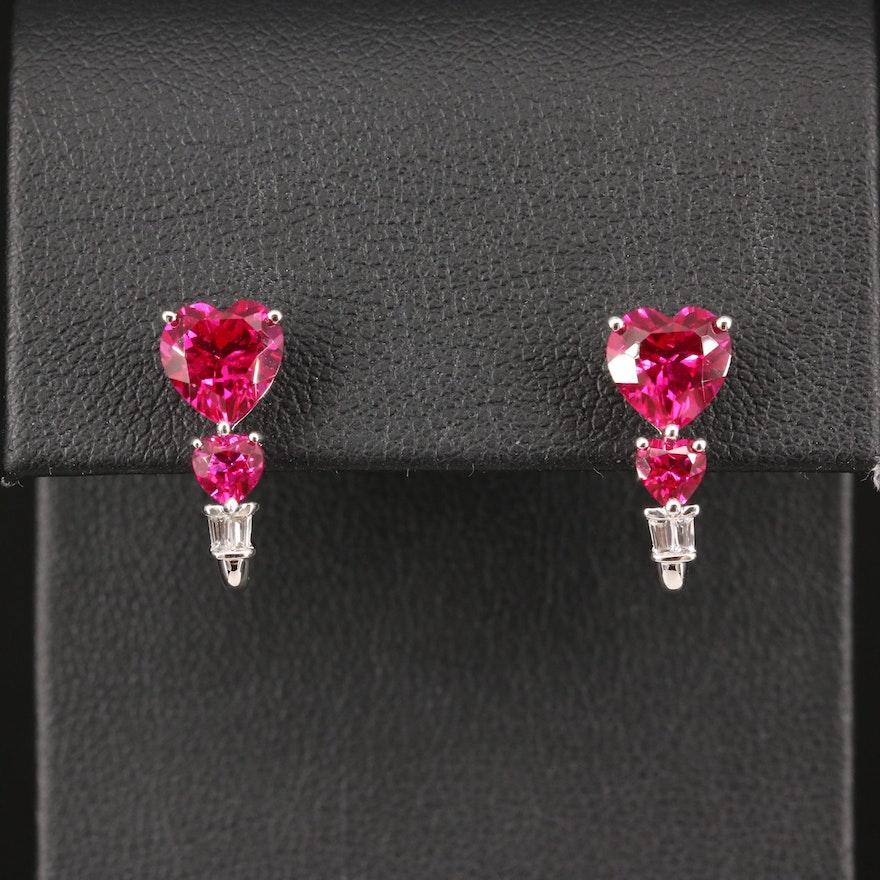 10K Ruby and Sapphire Earrings