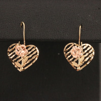 10K Two Tone Heart and Rose Earrings with Rose Gold Accents