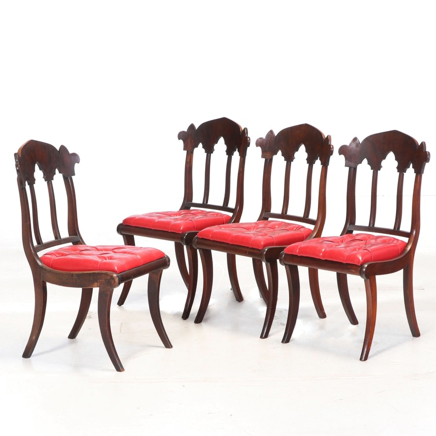 Gothic Revival Mahogany Side Chairs, Mid-19th Century