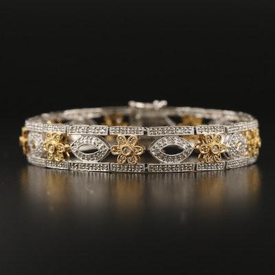 14K Two Tone Gold 1.53 CTW Diamond Flower Motif Bracelet