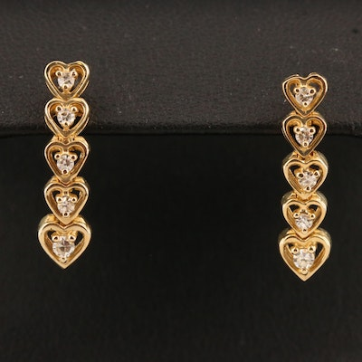 14K Diamond Graduated Heart Dangle Earrings
