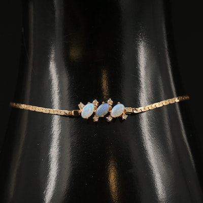14K Opal and Diamond Chain Bracelet