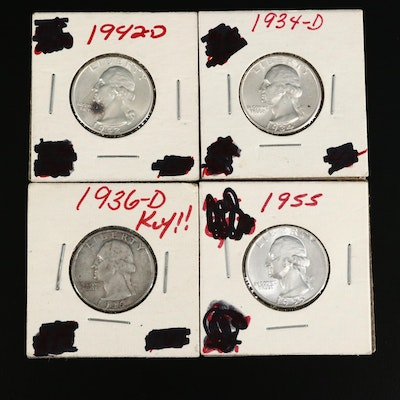 Four High Grade Washington Silver Quarters, Including Key Date 1936-D