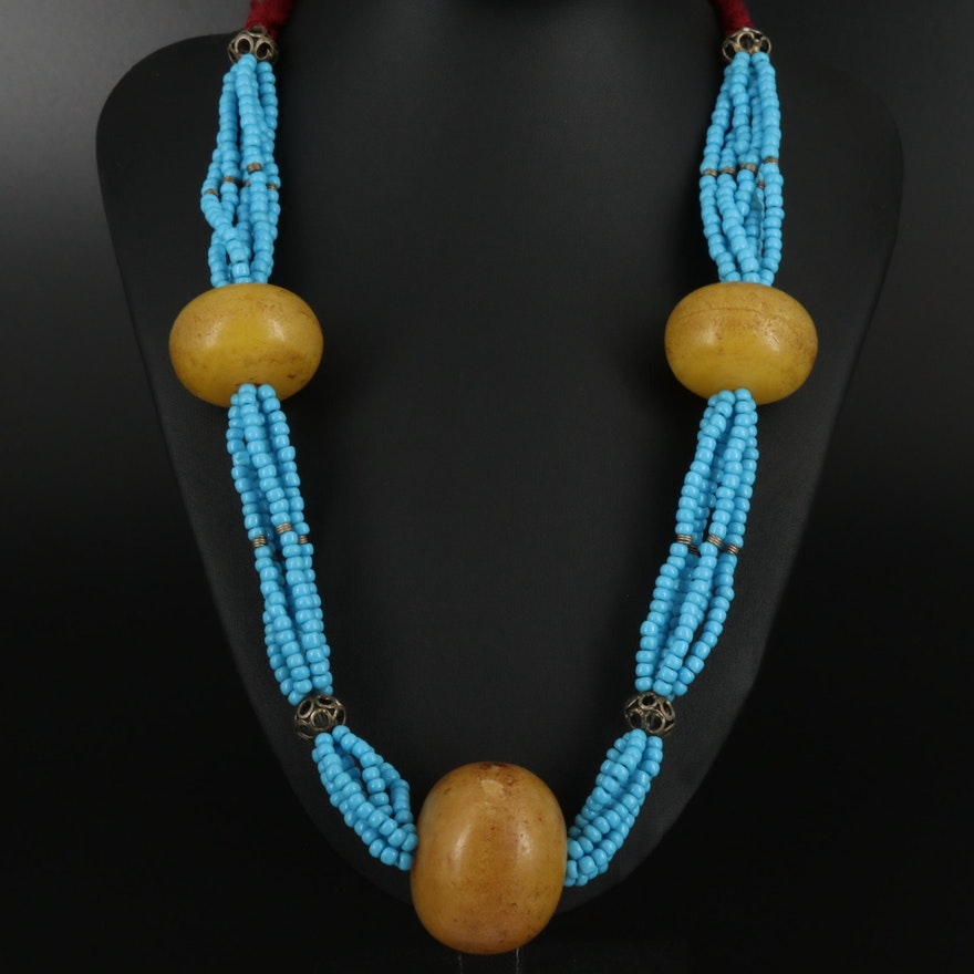Beaded Necklace with Textile Elements