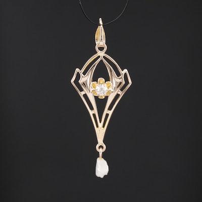 Vintage 14K Diamond and Pearl Lavalier Pendant