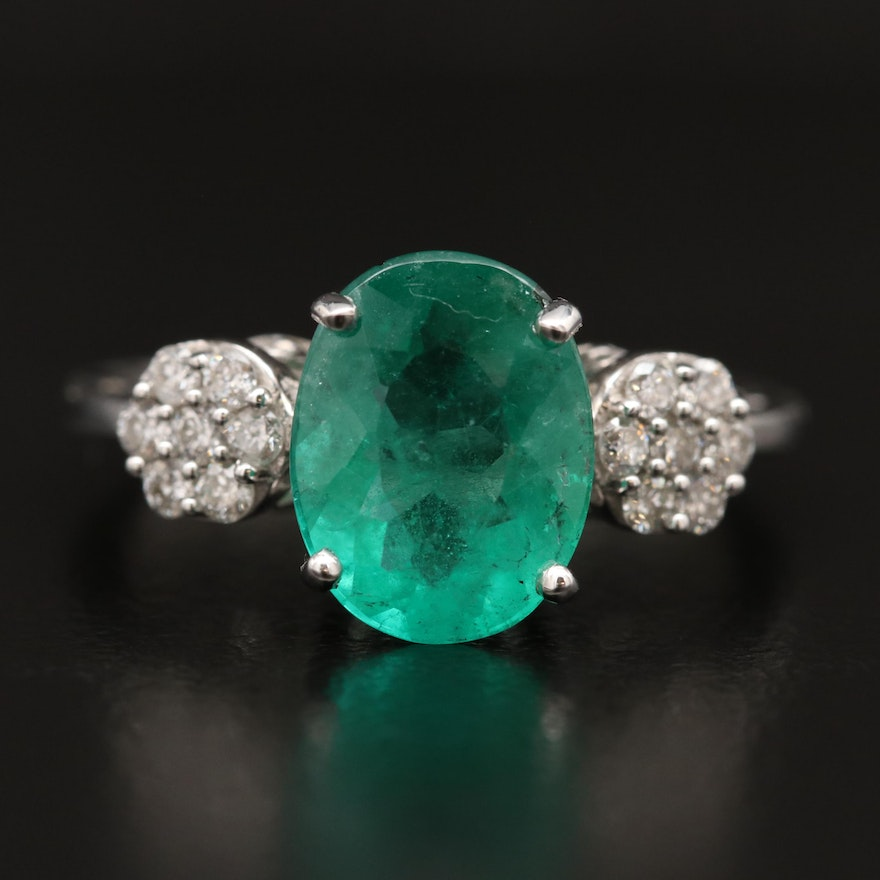 14K Oval Faceted Emerald and Diamond Ring