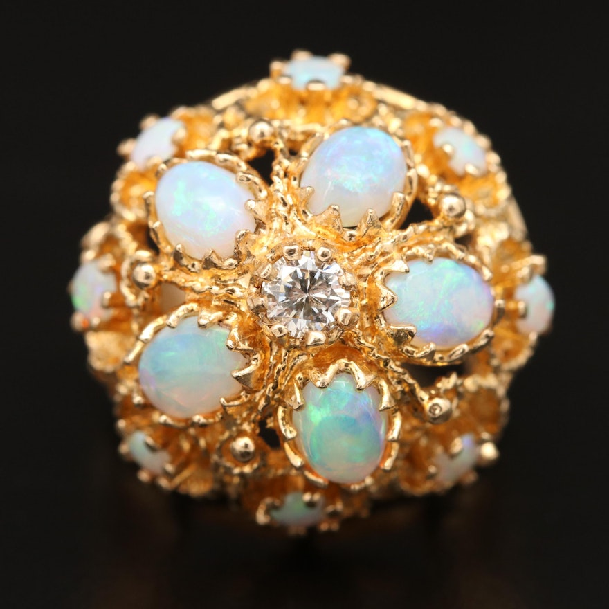 14K Opal and Diamond Openwork Domed Ring