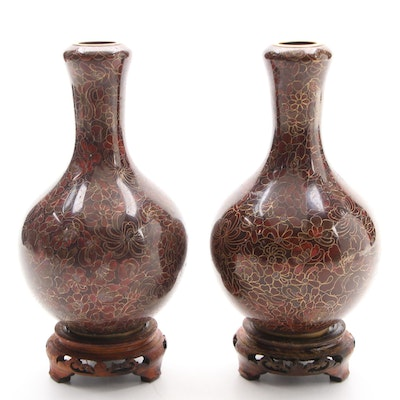 Pair of Chinese Cloisonné Bud Vases with Wooden Stands