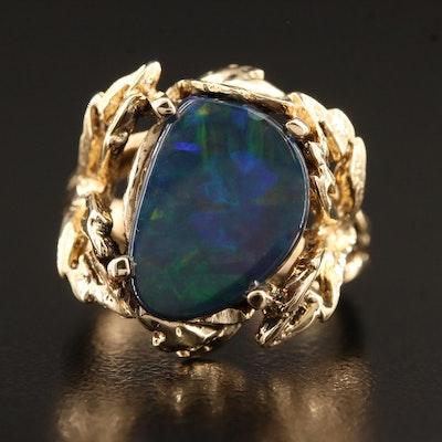 14K Foliate Motif Opal Triplet Ring