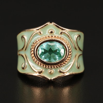 Sterling Silver Spinel and Enamel Ring