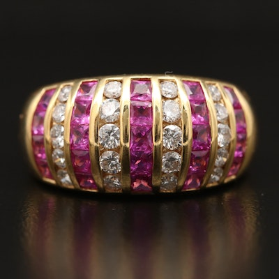 18K Ruby and Diamond Dome Ring