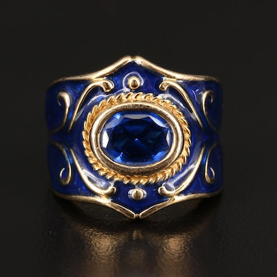 Sterling Silver Spinel and Blue Enamel Ring