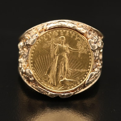 14K Nugget Style Ring with 22K Gold Eagle Coin